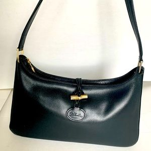 Longchamp Handbag Black Leather Toggle Zipper logo